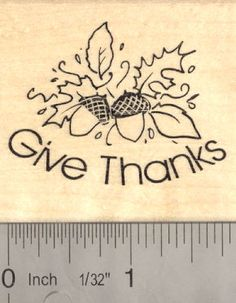 Thanksgiving Rubber Stamp Give Thanks Acorn (G15105) $9 at RubberHedgehog.com