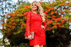 Marina Casemiro, look da noite, vestido, manga longa, renda guipir, vermelho, clutch bordada, scarpin dourado, analoren, ecommerce, black friday -17