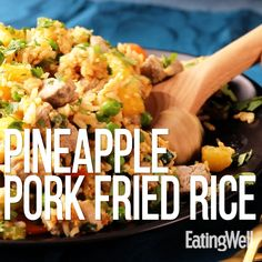 This one dish meal is bursting with texture and taste. Fresh pineapple, crisp-tender carrots and celery, and pungent ginger combine with pork in this homemade fried rice recipe that's ready in 45 minutes, start to finish. Pineapple Recipes Video, Pineapple Recipes Healthy, Rice Side Dishes, Pork Dishes, Pork Fried Rice Easy, Pork And Rice Recipes, Everyday Dishes, Supper Recipes, Delicious Vegan Recipes