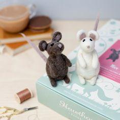 Mice Needle Felting Kit. Craft Kit. Needle Felted Animal. Felting Starter Kit. Felt Mice. Felting Tutorial. How to Needle Felt.