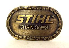 Vintage Stihl Chain Saws Belt Buckle by honeyblossomstudio on Etsy