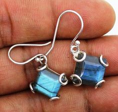 925 Solid Sterling Silver Jewelry Natural Labradorite Gemstons Handmade earrings