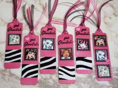 Monster High bookmarks--party favors made with the PTI bookmark die & SU Melon Mambo CS.