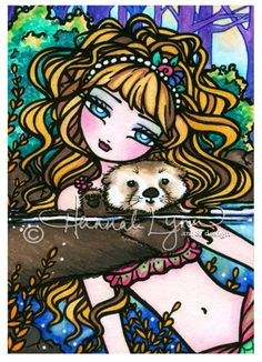 Another largely ignored piece that is just a personal favorite of mine :) Her hair, headband, eyes, the cute little sea otter wave, and the half underwater theme! 5x7 Oliana's Otter Mermaid Fairy Fantasy Art by hannahlynnart, $5.99