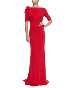 Half-Sleeve Gown with Bow Shoulder by Badgley Mischka Collection at Neiman Marcus.
