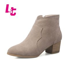52.40$  Buy here - L&T Autumn/winter women ankle boots suede fashion runway biker boots Medium heel pointed toe zipper ladies shoes  #magazine