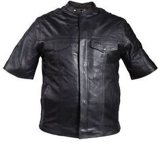 MEN'S SON OF ANARCHY LEATHER MOTORCYCLE SHIRT SNAP COLLAR TWO INSIDE POCKETS NEW
