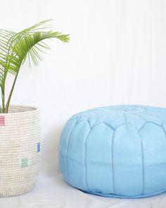 Boho Blue Moon Leather Moroccan Pouf