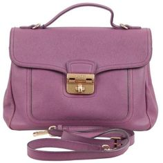 Preowned Nina Ricci Collection Purple Leather Satchel Handbag Shoulder... ($338) ❤ liked on Polyvore featuring bags, handbags, shoulder bags, purple, purple leather shoulder bag, purple purse, genuine leather handbags, purple shoulder bag and purple leather handbag