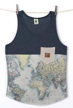 f057c1b13e CAMISETA KAOTIKO TIRANTES MAPA MUNDI INDIGO LINO Camiseta Tirantes Hombre