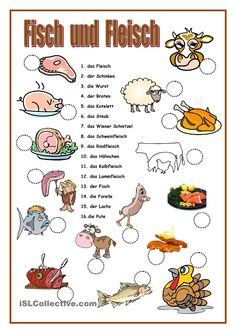 FISCH UND FLEISCH Study German, Learn German, Learn French, German Grammar, German Words, Teaching French, Teaching Spanish, Spanish Activities, Grammar And Vocabulary