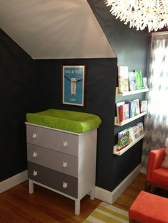 Ikea hack. Ombré changing table/dresser with cat knobs in Desmond's nursery.