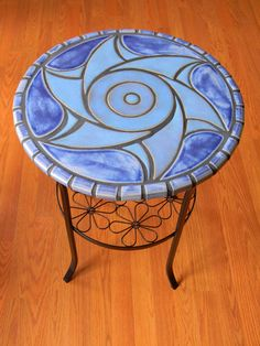 Handcut Tile Table with Blue Wave design by moonflowerartjewelry, $325.00  Sold!!!