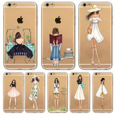 2016 Fashion Shopping Girl Phone Case For Apple iPhone  6 6s  Transparent Soft Silicon Mobile Phone Bag