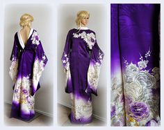 Matrimonio reale Kimono Robe giapponesi, seta ricamo argento oro autentico…