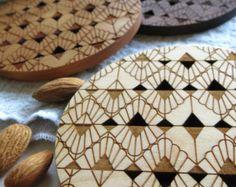 Wood Coasters - Set of 2 - Engraved Coasters-Art Deco-set of 2