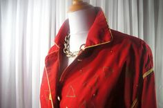 Vintage red and gold jacket triangle abstract gold by AnEyeforJulz, $34.00
