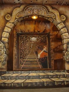 boys room Indiana Jones | indiana jones room mine tunnel trompe l oeil indiana jones mine tunnel ...
