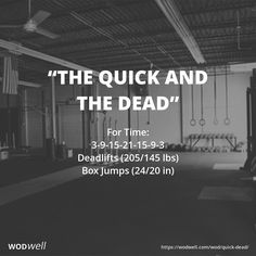 """The Quick and the Dead"" WOD - For Time: 3-9-15-21-15-9-3"