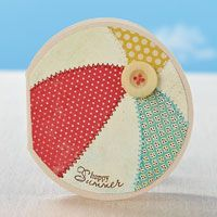 detailed instructions, supply list and templates for making this Summer Beach Ball Card - from papercrafts magazine