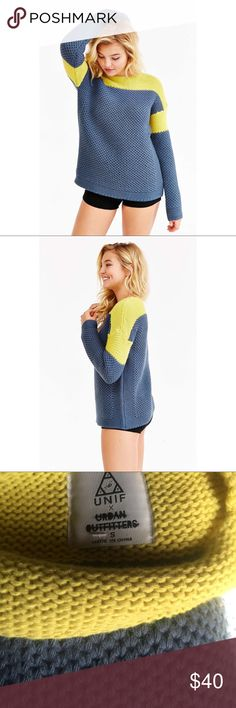 UNIF for UO colroblock pullover sweater UNIF For UO Colorblock Pullover Sweater- Blue S. Sporty colorblock pullover sweater in a thick + cozy honeycomb knit. Has small defect as seen in 3 Rd pic, priced accordingly. Lin  across tag to avoid store returns. UNIF Sweaters Crew & Scoop Necks