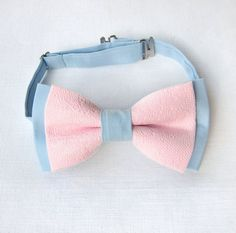Light pink bow tie. Light blue bow tie lace. by KristineBridal