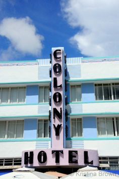 South Beach Hotel Photo, Miami Florida Picture, Architectural Photography, Retro Art Deco, Colony Hotel Fine Art Print, Blue, Pastel Colors by SilverBirdBoutique
