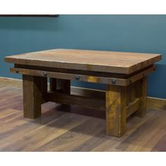 Rustic Barnwood Coffee Table with Nailhead Trim $595