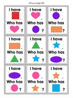 Practice shape names and colors with this fun class game of I Have, Who Has. Preschool First Day, Preschool Learning, Preschool Activities, Preschool Shapes, Shape Activities, Montessori Math, Preschool Lessons, Group Activities, Preschool Worksheets