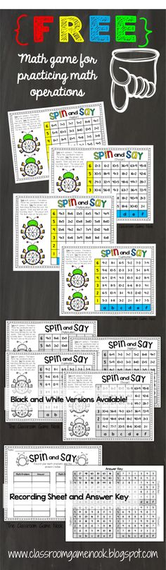 A fun center or individual math game for practicing math operations.  FREEBIE