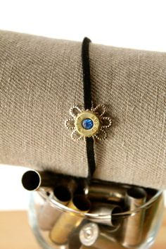 Adjustable suede leather bullet bracelet, with glass crystal, Winchester 40 cal