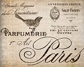 Antique SEPIA French Perfume Labels Paris France Bird Digital Download for Papercrafts, Transfer, Pillows, etc.Burlap No 2913
