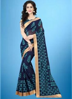 SareePrinted Cotton Saree in Blue color Als 20