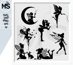70 % OFF, fairy svg, fairy Silhouettes, Vector art, instant download, Digital Cut, Print Files, Svg Files dxf, eps, Ai, png