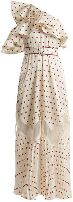a96a318f5f07 One-shoulder polka-dot print dress  ivory satin lace Polka Dot