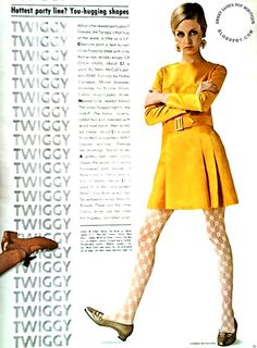 SWEET JANE: Twiggy Models a Wardrobe Designed by Seventeen - July 1967.