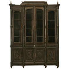 Original Ebonized Antique French Henri II Solid Oak & Walnut Bookcase/Cabinet | 1stdibs.com