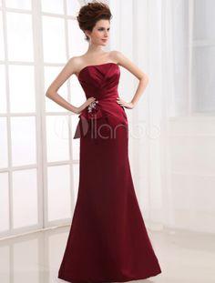 Satin A-Linie-Kleid für Hochzeit mit trägerlosem Design und Falten bodenlang - Milanoo.com