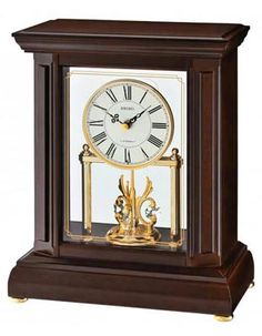 Seiko Uplifting Melodies Mantel Clock - Swarovski Crystals - Dark Brown Case