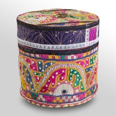 Antique Embroidered Fabric Hat Box III    PRODUCT DETAILS  Wooden hat box  Antique multicolor hand-embroidered fabric  Removable lid with brass ring  One of a kind  Internal diameter: 7 inches  Dimensions: 8 diam. x 8H inches