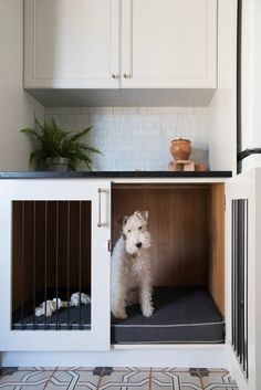 Noteworthy - roomfortuesday.com Dog Room Decor, Diy Dog Crate, Dog Crate Beds, Dog Crate Table, Dog Spaces, Small Spaces, House Ideas, Dog Area, Animal Room