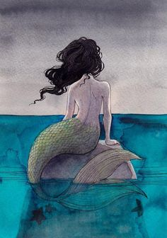 Mermaid sitting on a rock, back facing out.