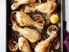 Sliced red onions become sweet from stewing in the chicken's juices while the lemon slices add acidic balance. Roast Chicken Legs Recipe, Roasted Chicken Legs, Chicken Leg Recipes, Roasted Onions, Chef Work, Onion Chicken, Wine Recipes, Lamb Recipes, Turkey Recipes