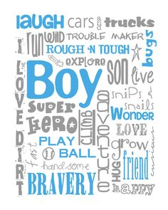 All Boy Subway Art Print 8X10 for Nursery or by MyPoshDesigns, $18.00