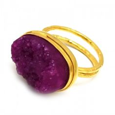 Designer Gold Plated Pink Druzy Gemstone Ring Latest Ring Designs, Druzy Ring, Gemstone Rings, Plating, Fashion Jewelry, Gemstones, Pink, Gold, Handmade