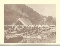 Lumber raft and crew on the Clarion River, PA ca. 1910 from 1994 Clarion County Historical Calendar.  EFTforChristians.com
