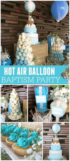 Such a sweet baptism with a hot air balloon theme! See more party ideas at CatchMyParty.com!