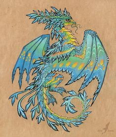 Tropical blue sea dragon - tattoo design by AlviaAlcedo.deviantart.com on @deviantART
