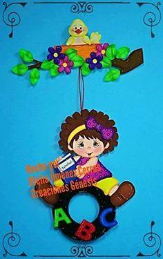 2- Niña sobre columpio de llanta - Patrones GratisS Foam Crafts, Preschool Crafts, Paper Crafts, Classroom Board, Classroom Themes, Pinterest Crafts For Kids, Emoji Coloring Pages, Bulletin Board Design, School Murals