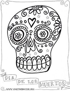 Doodled Dia de los Muertos sugar skull coloring pages for the kids to color in with markers, crayons and watercolors, by Karen Michell.